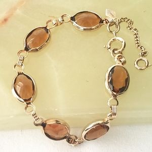 Sarah Coventry Brown Rhinestone Gold Tone Bracelet